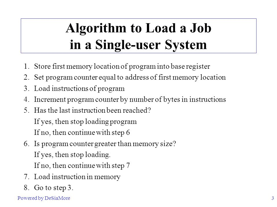 Algorithm to Load a Job in a Single-user System