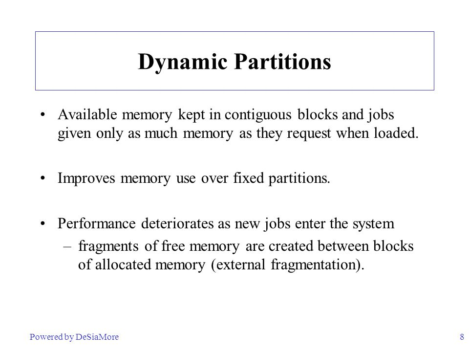 Dynamic Partitions Available memory kept in contiguous blocks and jobs given only as much memory as they request when loaded.