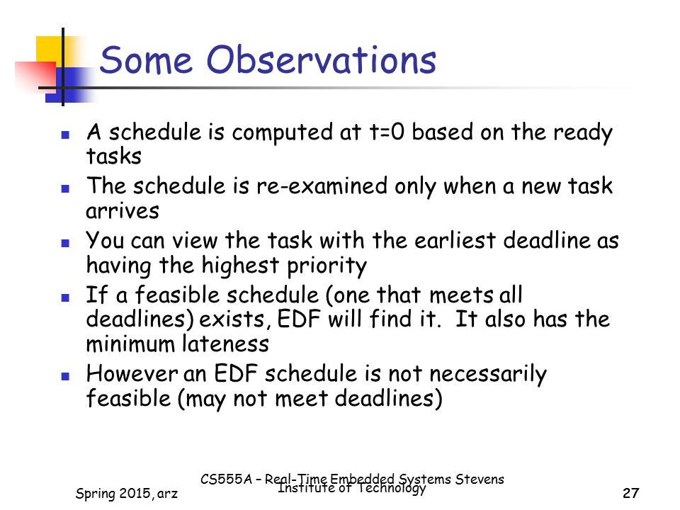 CS555A – Real-Time Embedded Systems Stevens Institute of Technology