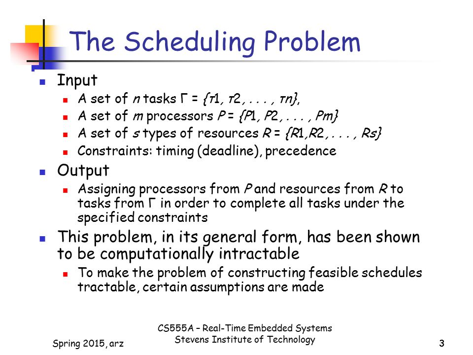 The Scheduling Problem