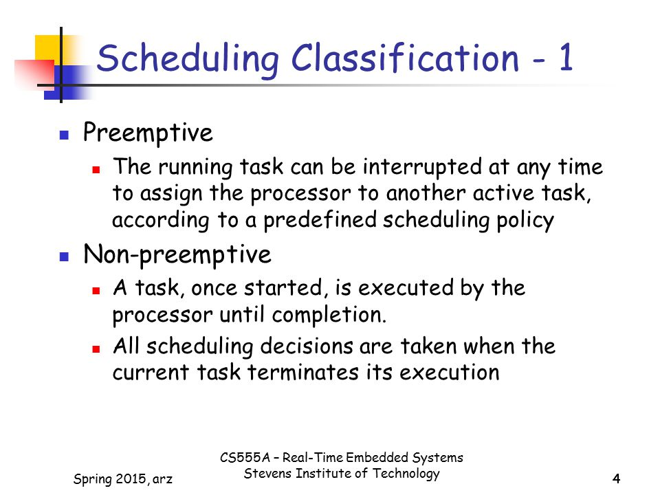 Scheduling Classification - 1