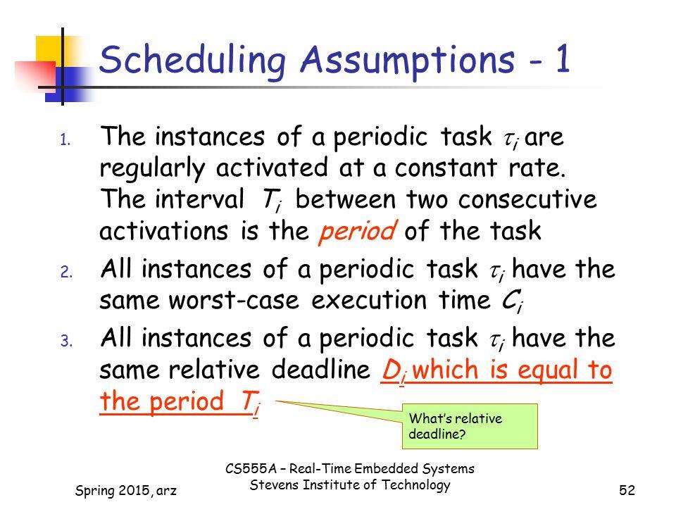 Scheduling Assumptions - 1