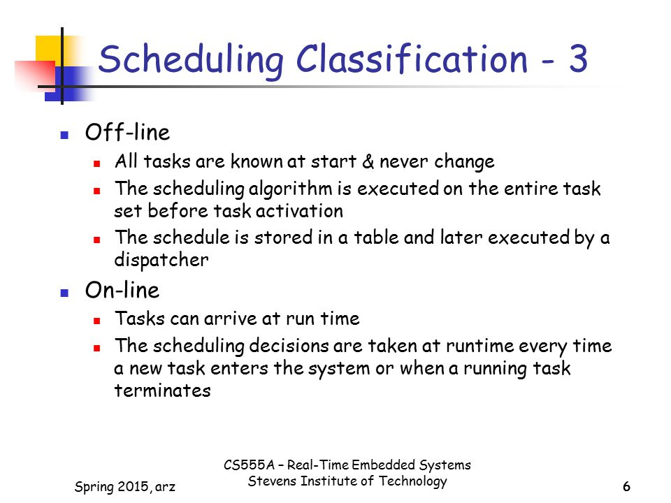 Scheduling Classification - 3