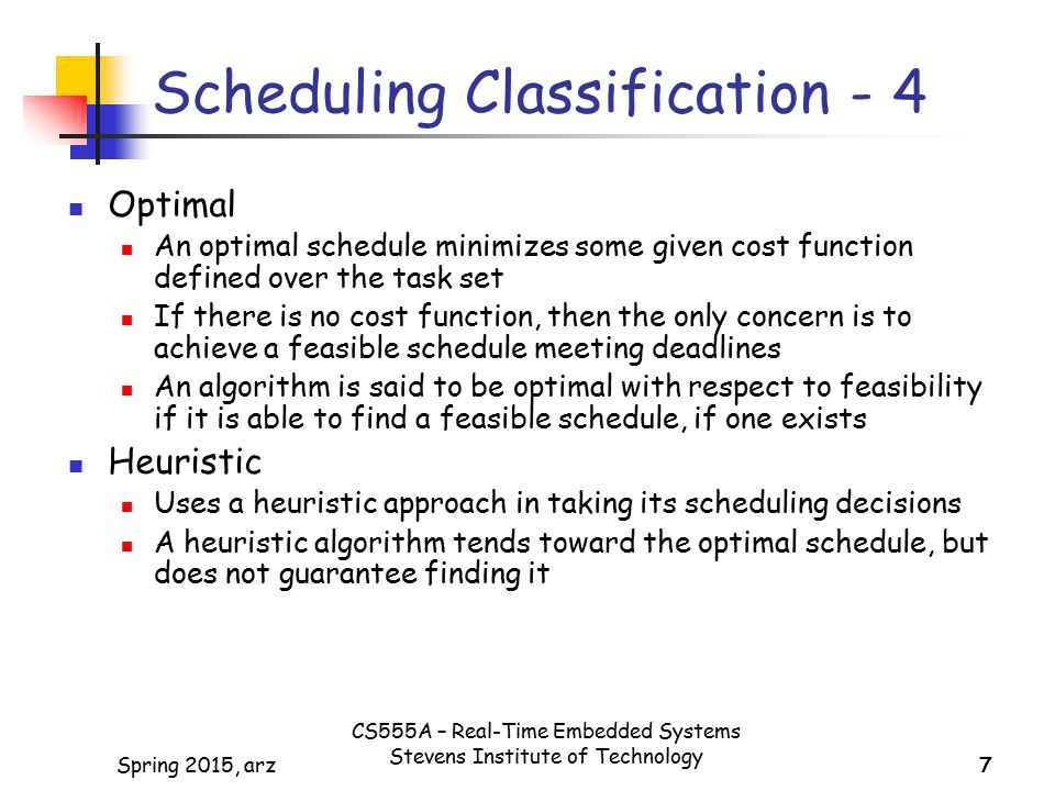 Scheduling Classification - 4