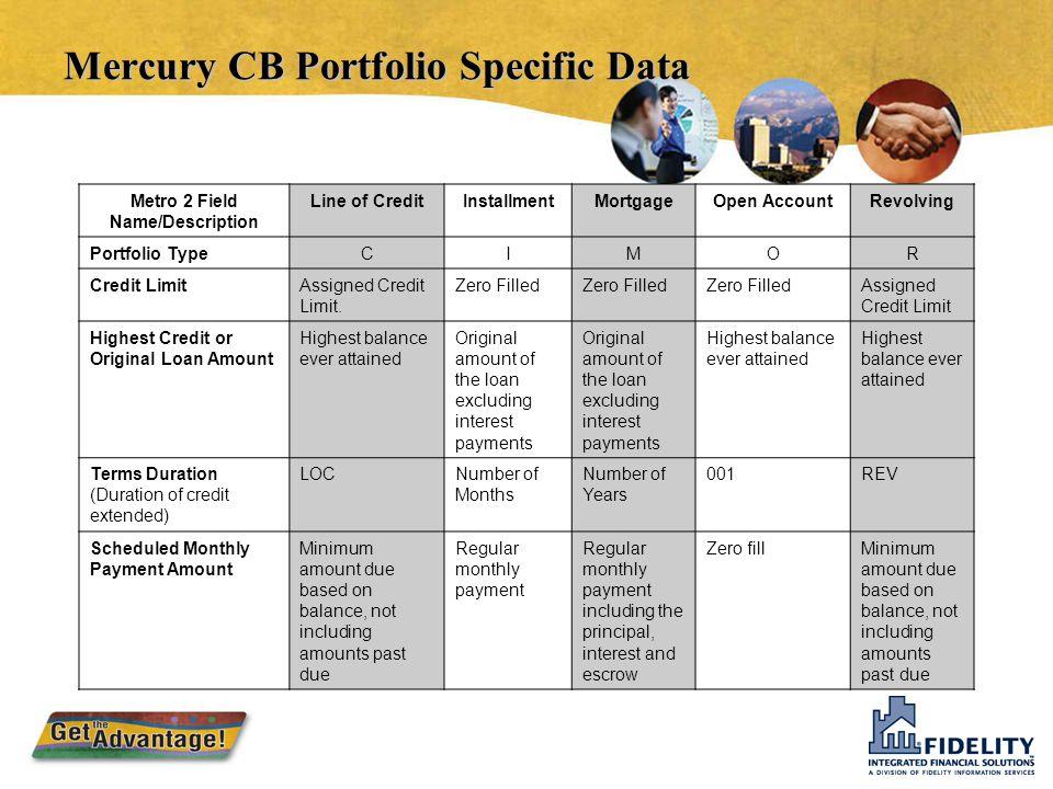 Mercury CB Portfolio Specific Data