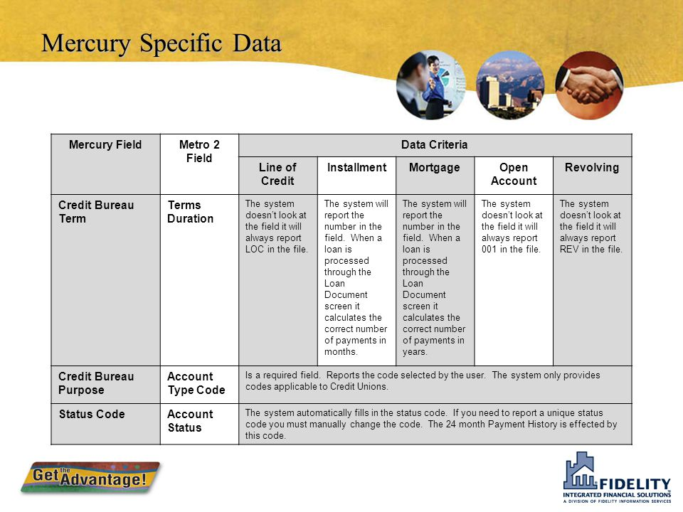 Mercury Specific Data Mercury Field Metro 2 Field Data Criteria