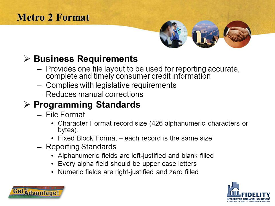 Metro 2 Format Business Requirements Programming Standards