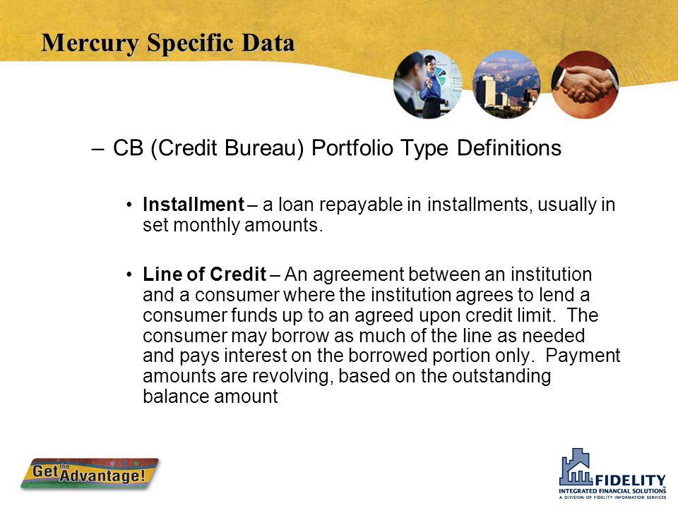 Mercury Specific Data CB (Credit Bureau) Portfolio Type Definitions