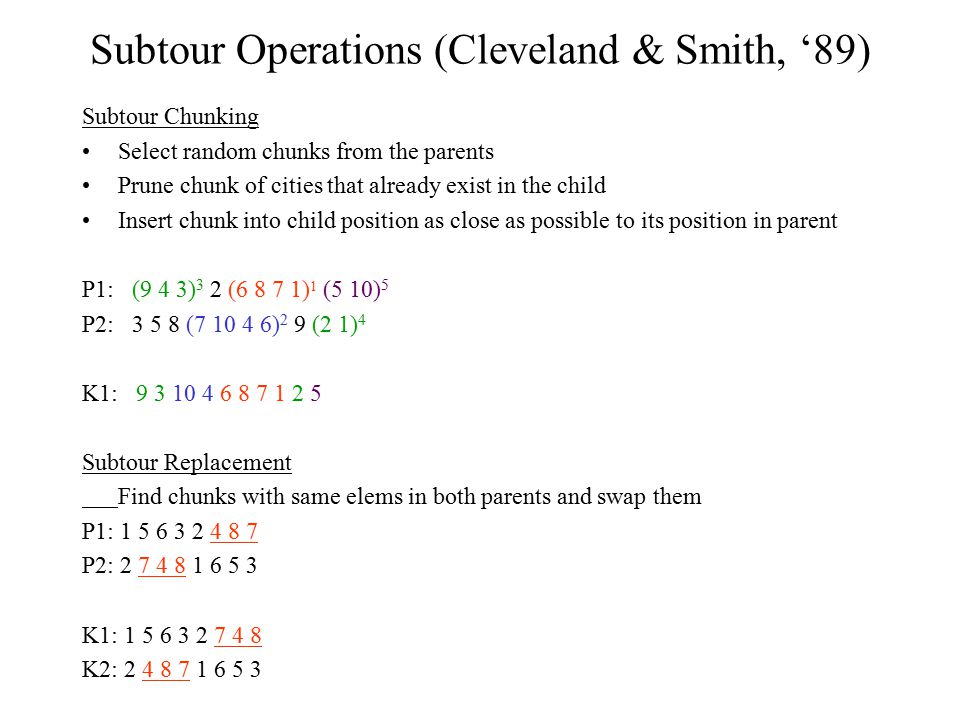 Subtour Operations (Cleveland & Smith, '89)