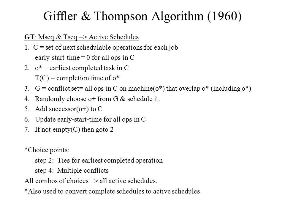 Giffler & Thompson Algorithm (1960)