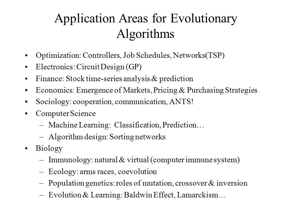 Application Areas for Evolutionary Algorithms