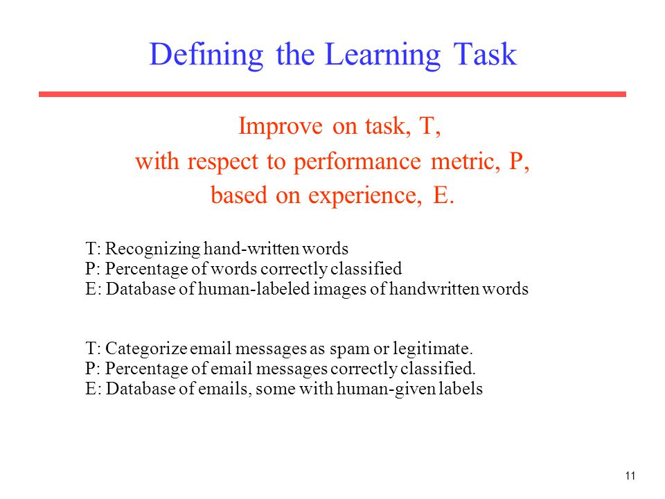 Defining the Learning Task