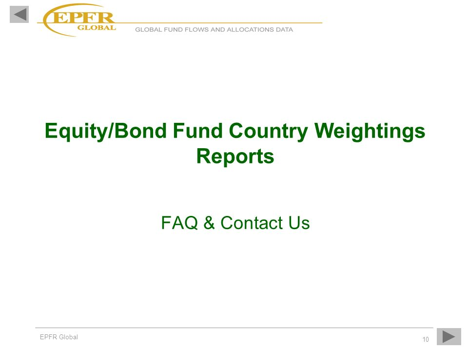 Equity/Bond Fund Country Weightings Reports FAQ & Contact Us