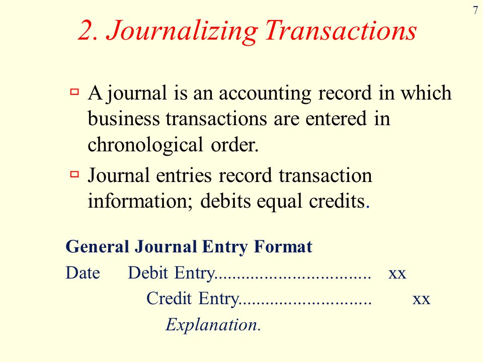 2. Journalizing Transactions