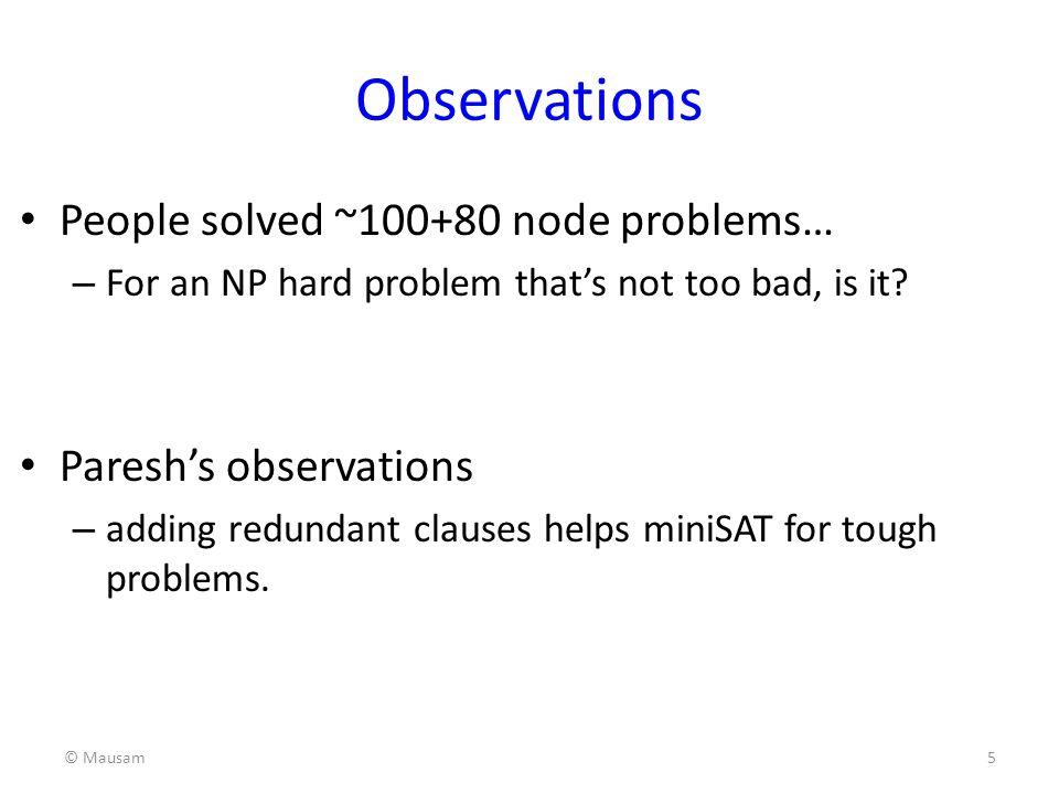 Observations People solved ~100+80 node problems…