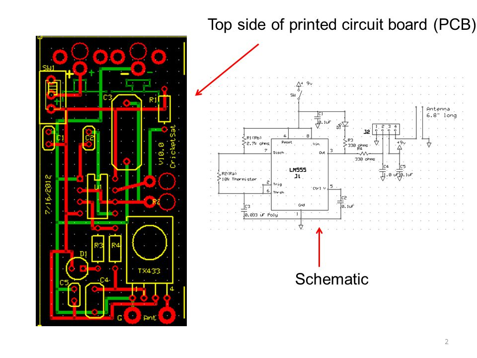 Top side of printed circuit board (PCB)