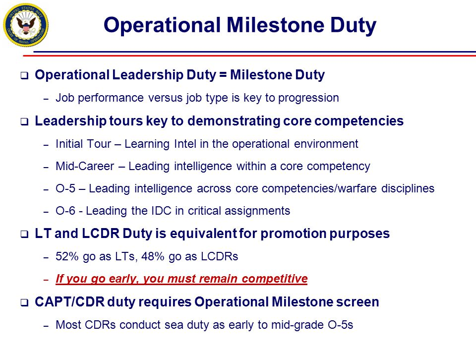Operational Milestone Duty