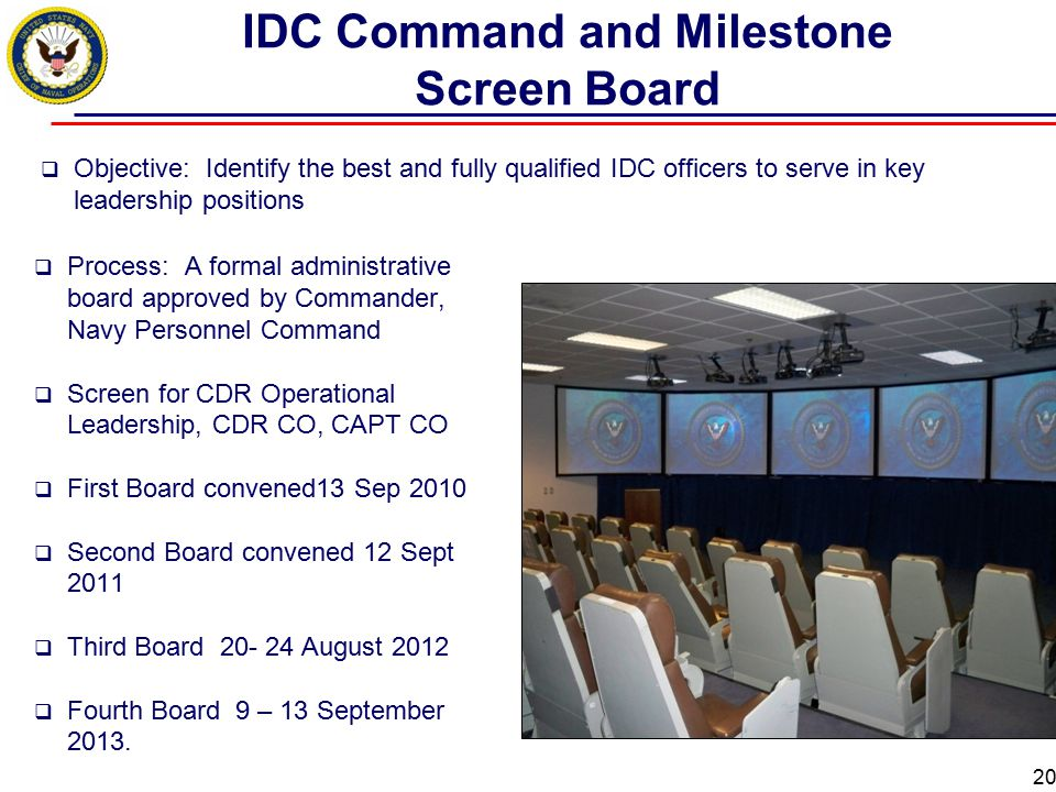 IDC Command and Milestone Screen Board
