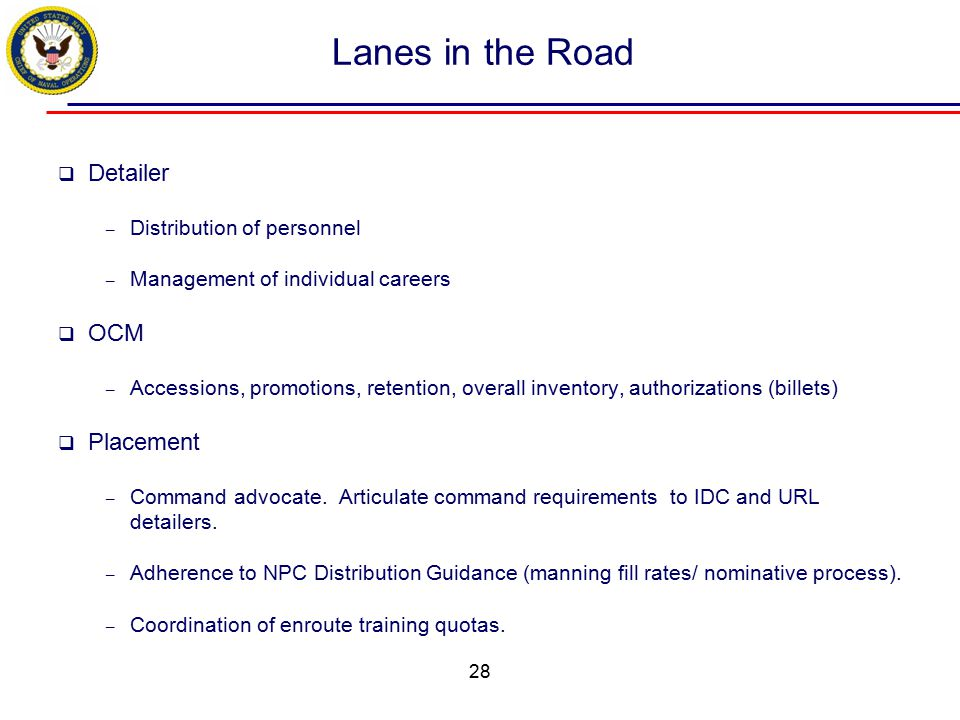 Lanes in the Road Detailer OCM Placement Distribution of personnel