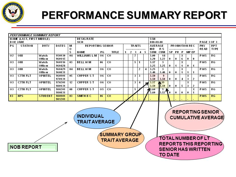 PERFORMANCE SUMMARY REPORT