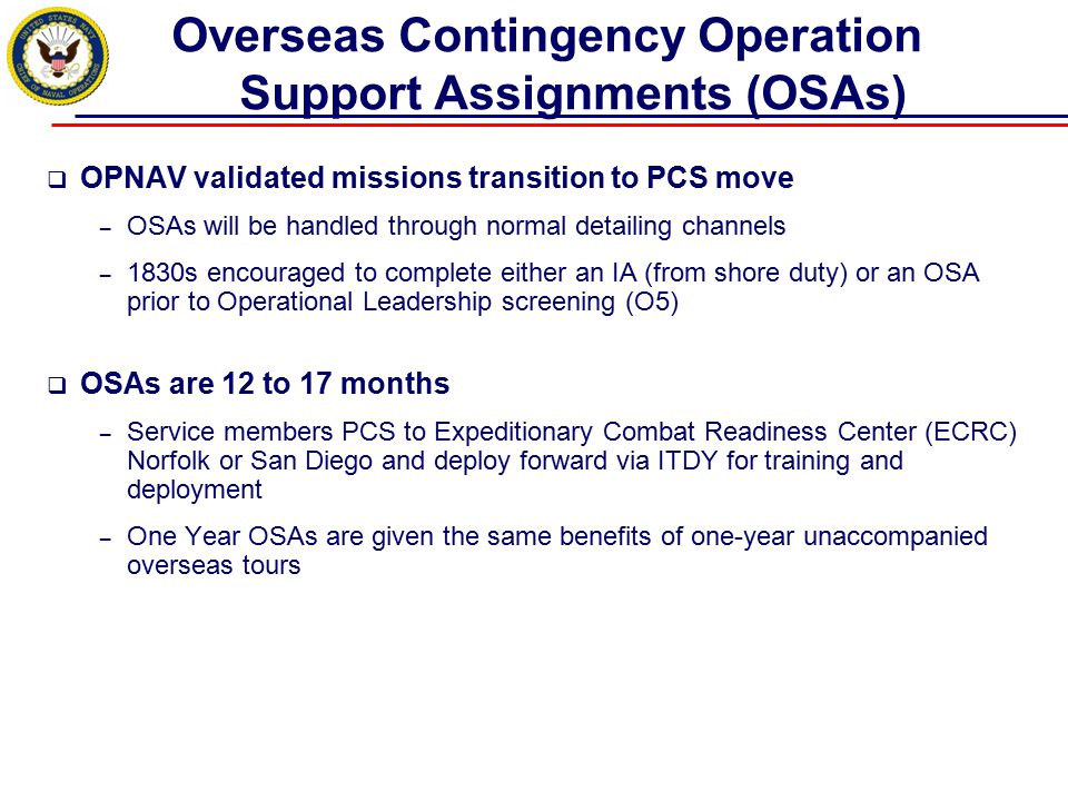 Overseas Contingency Operation Support Assignments (OSAs)