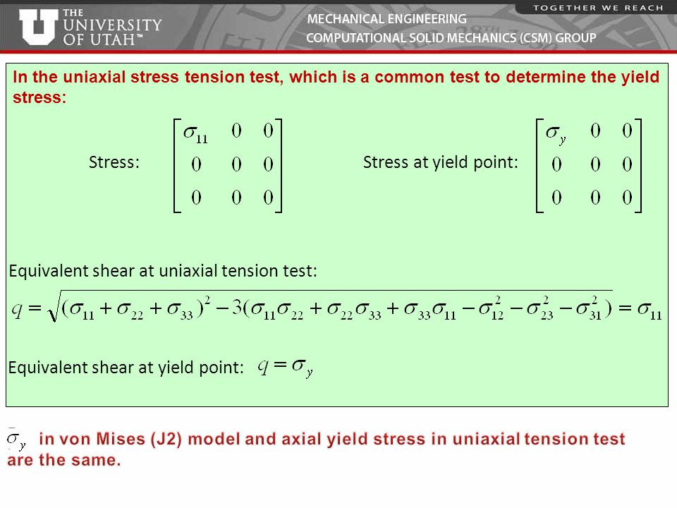 Equivalent shear at uniaxial tension test:
