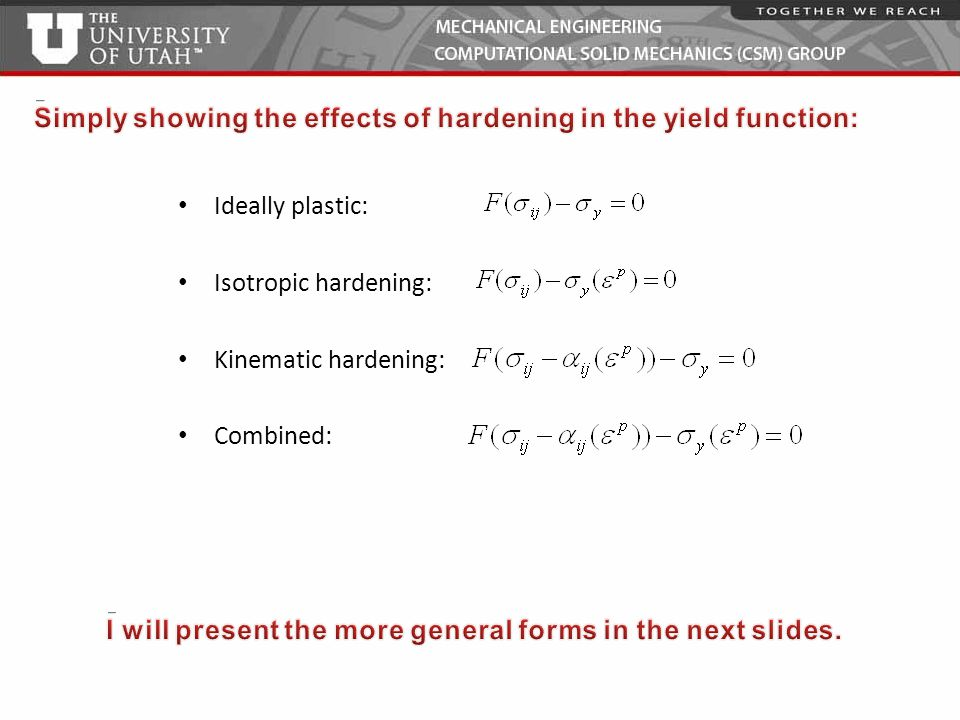 Simply showing the effects of hardening in the yield function: