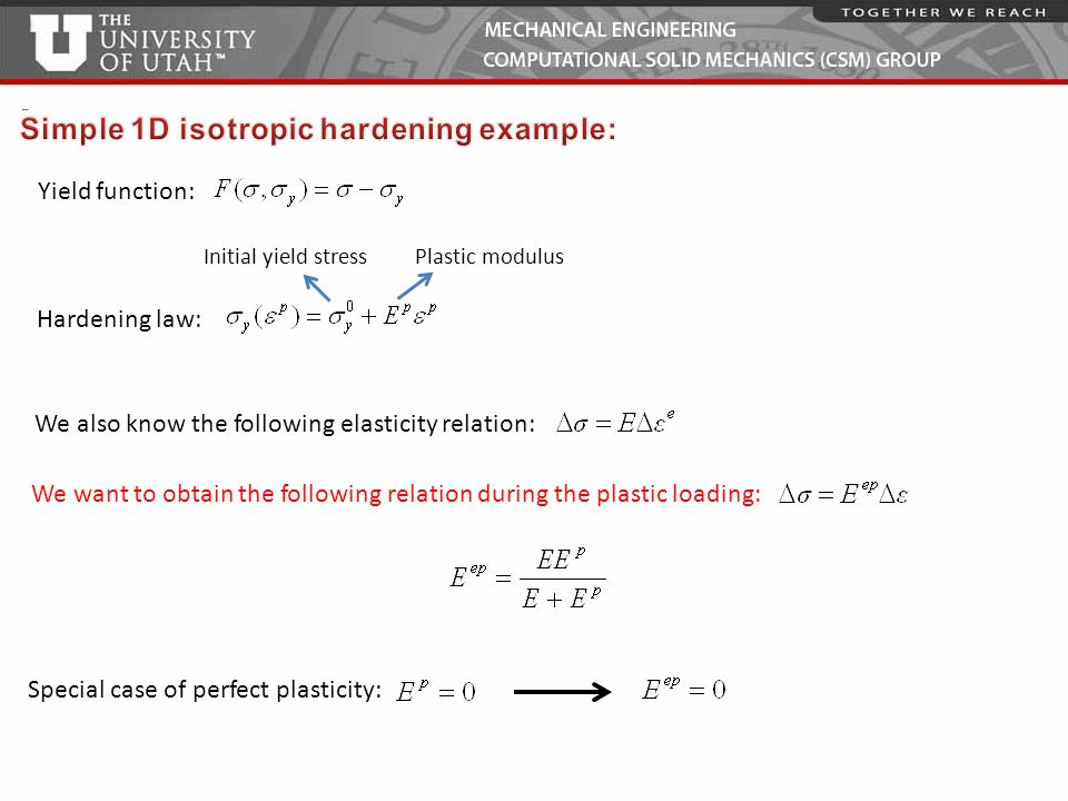 Simple 1D isotropic hardening example: