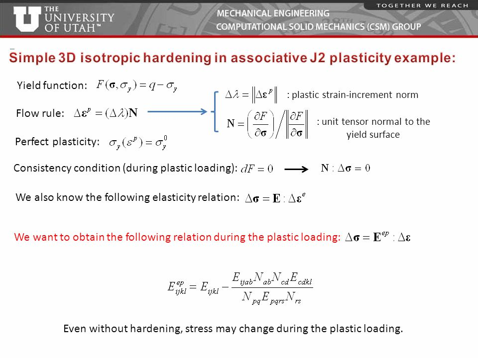 Simple 3D isotropic hardening in associative J2 plasticity example: