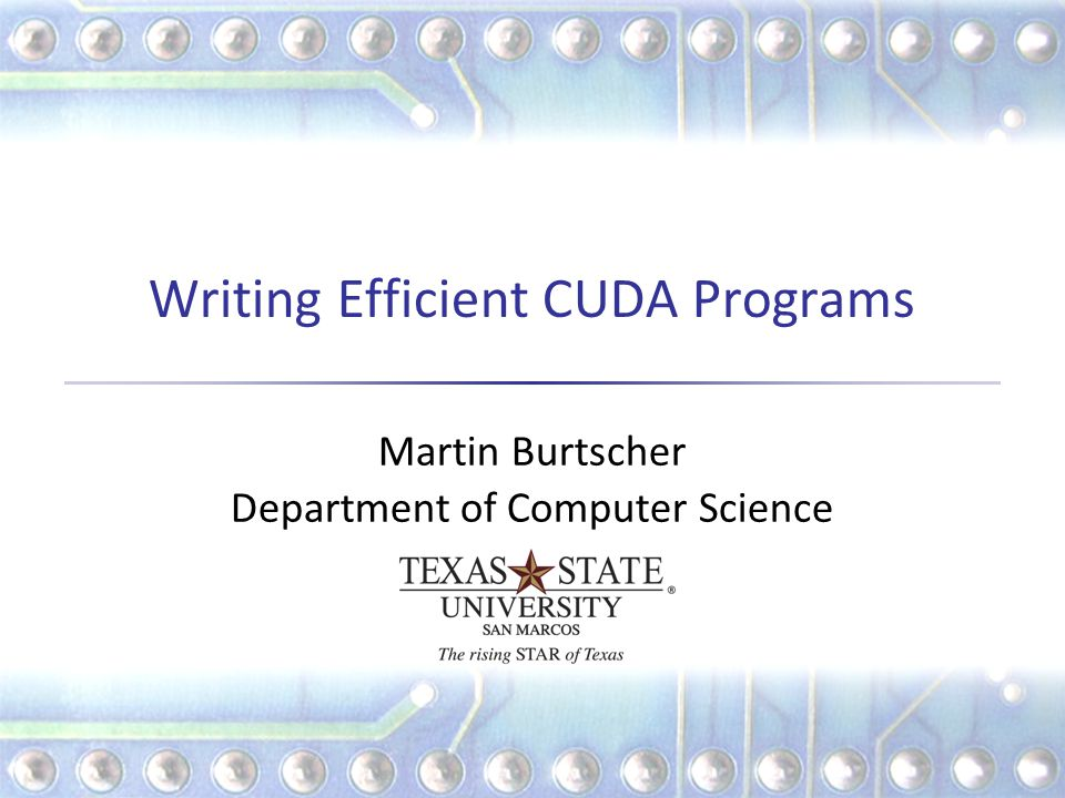 Writing Efficient CUDA Programs