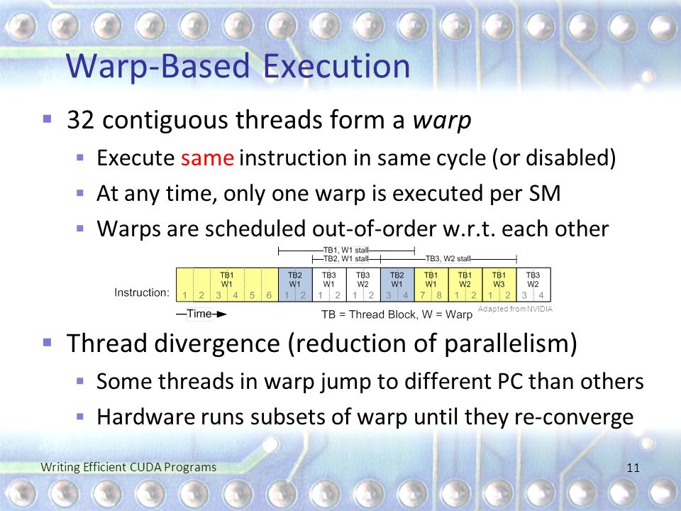 Warp-Based Execution 32 contiguous threads form a warp