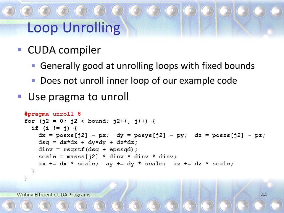 Loop Unrolling CUDA compiler Use pragma to unroll