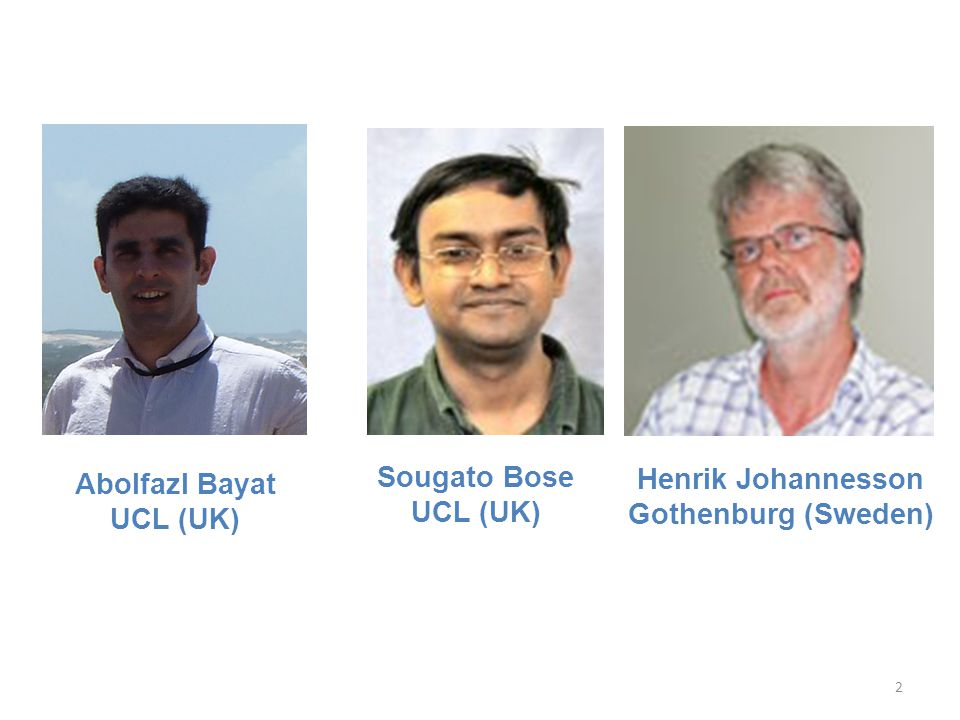 Sougato Bose UCL (UK) Abolfazl Bayat UCL (UK) Henrik Johannesson Gothenburg (Sweden)