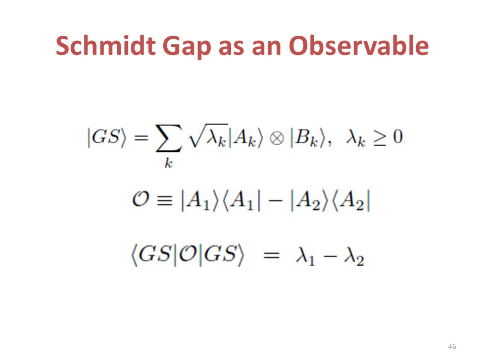 Schmidt Gap as an Observable