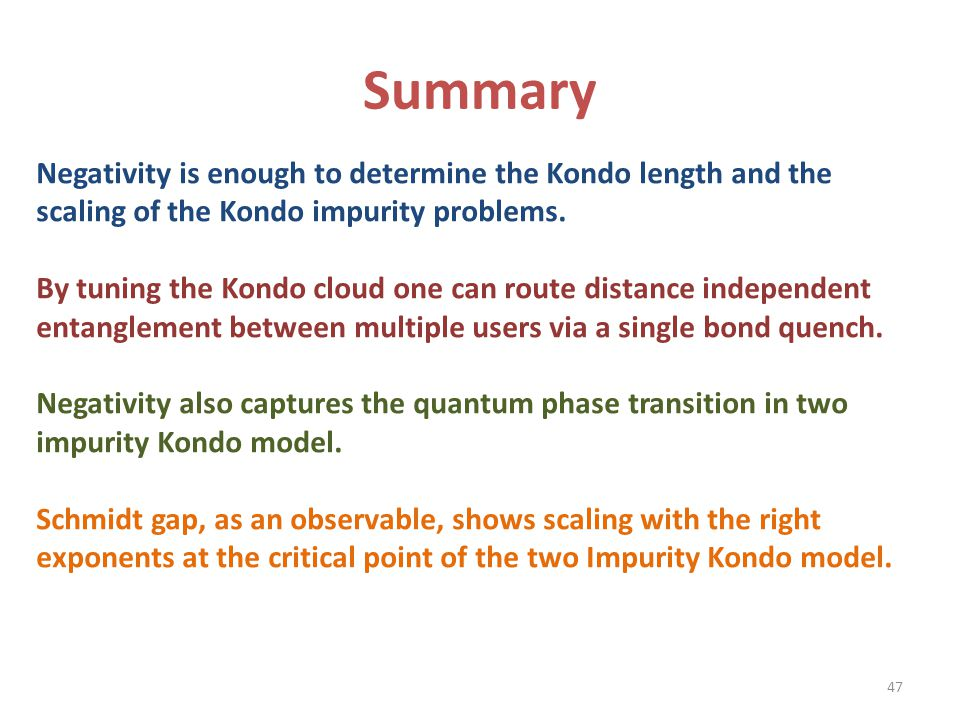 Summary Negativity is enough to determine the Kondo length and the