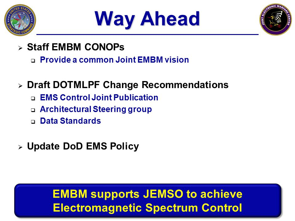EMBM supports JEMSO to achieve Electromagnetic Spectrum Control