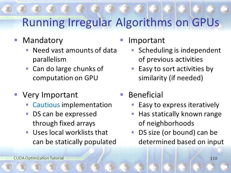 Running Irregular Algorithms on GPUs