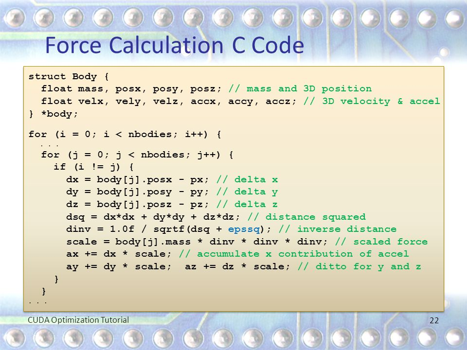 Force Calculation C Code
