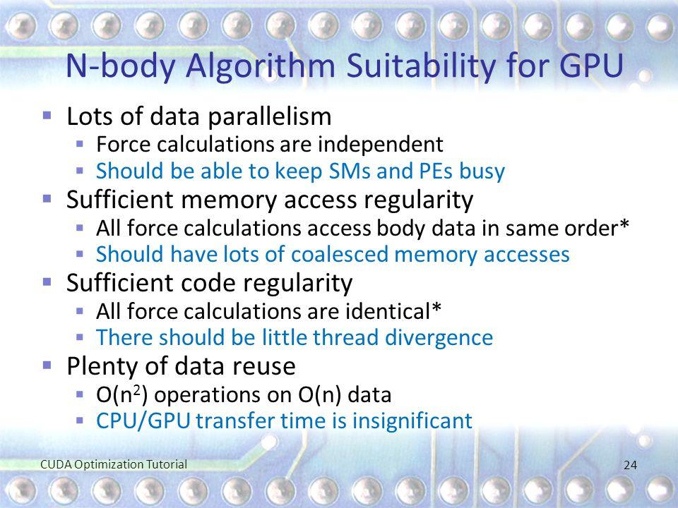 N-body Algorithm Suitability for GPU