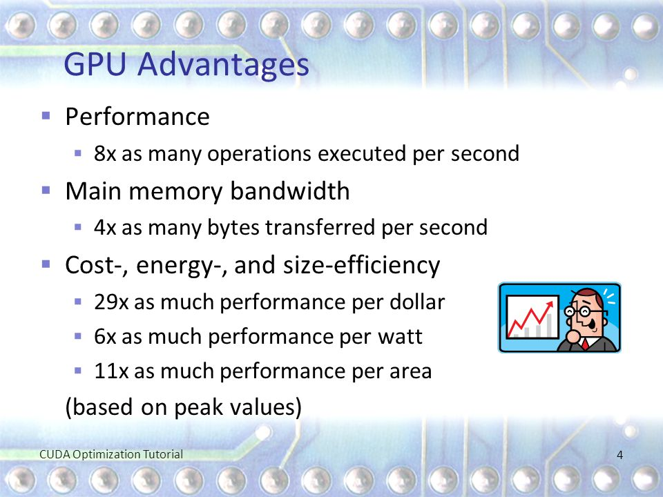 GPU Advantages Performance Main memory bandwidth