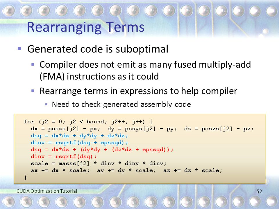 Rearranging Terms Generated code is suboptimal