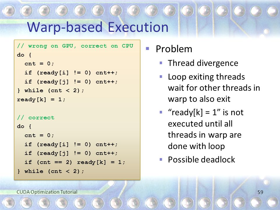 Warp-based Execution Problem Thread divergence