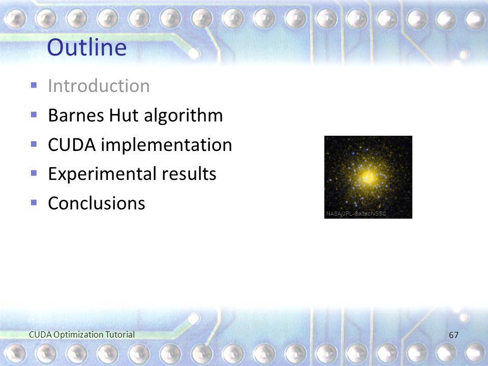 Outline Introduction Barnes Hut algorithm CUDA implementation