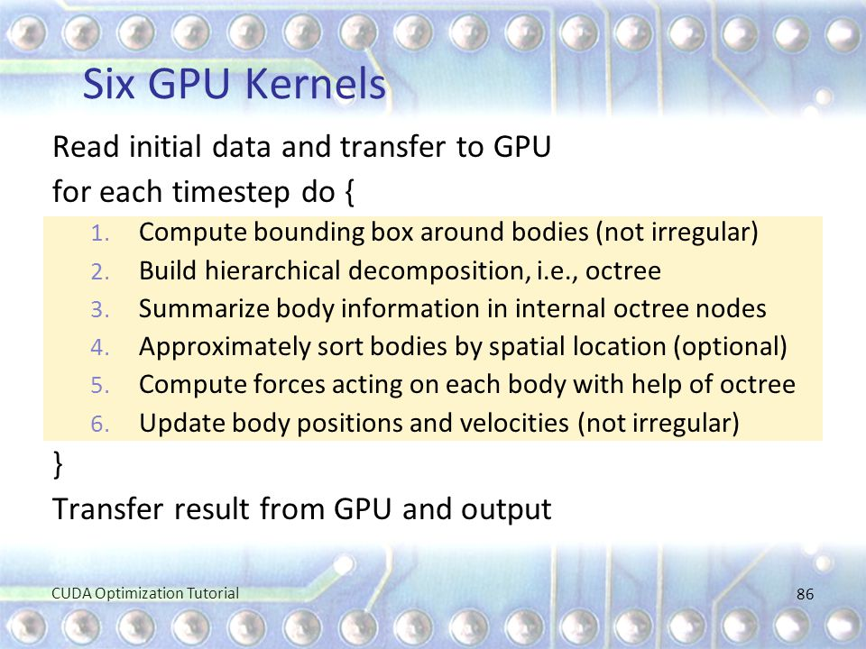 Six GPU Kernels Read initial data and transfer to GPU