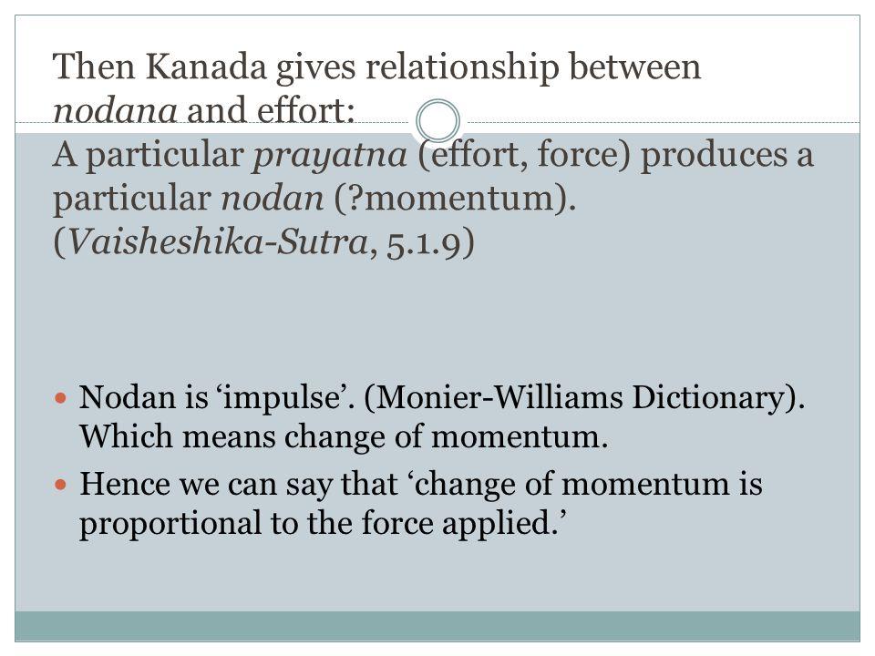 Then Kanada gives relationship between nodana and effort: A particular prayatna (effort, force) produces a particular nodan ( momentum). (Vaisheshika-Sutra, 5.1.9)