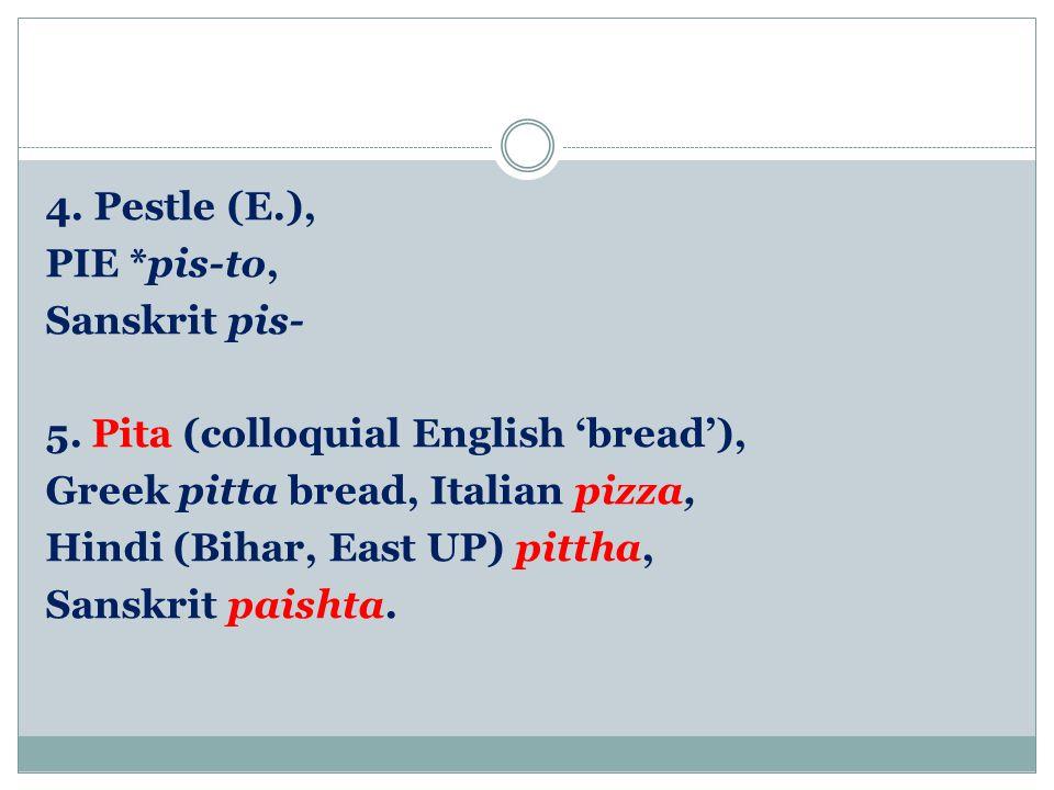 4. Pestle (E. ), PIE. pis-to, Sanskrit pis- 5