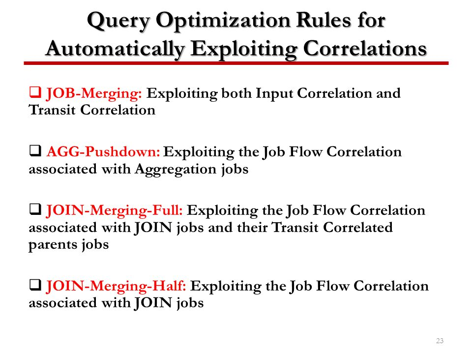 Query Optimization Rules for Automatically Exploiting Correlations
