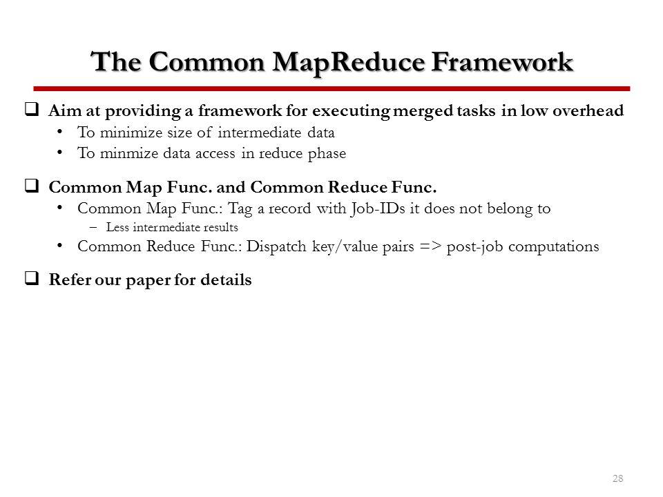 The Common MapReduce Framework