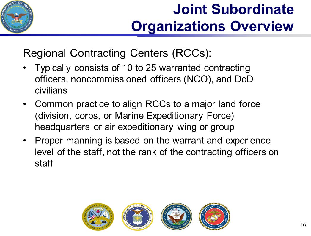 Joint Subordinate Organizations Overview