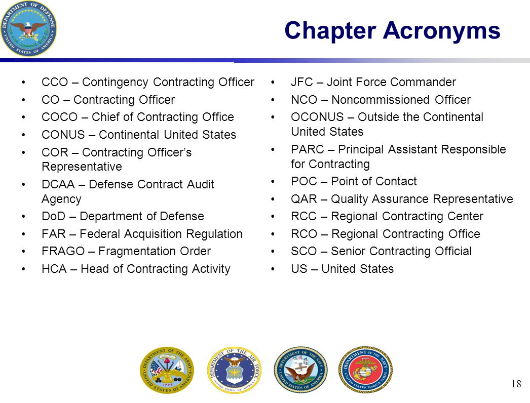 Chapter Acronyms CCO – Contingency Contracting Officer